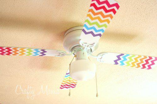 House Decorating with Washi Tape / Decora tu casa Rainbow Chevron Fan Makeover with Washi Tape