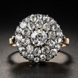 Victorian Round Cluster Antique Diamond Ring