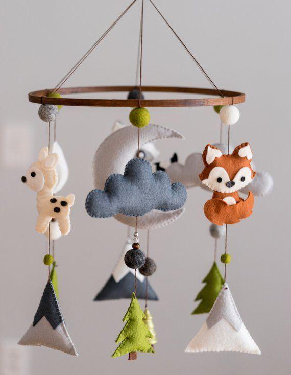 Tier Wald Kindergarten Mobile / Mobile Filz / Berg Kindergarten / Filz Mond / Kinderzimmer Dekor / Monochrom / skandinavischen Dekor / Filz Cloud – StudioStories.de