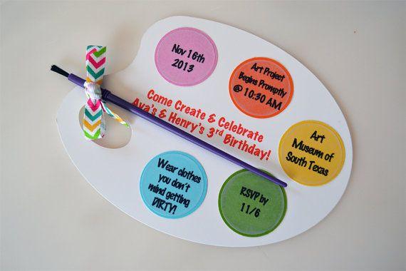 Paint Brush Art Craft Party Invite by BridalBijou on Etsy, $3.00