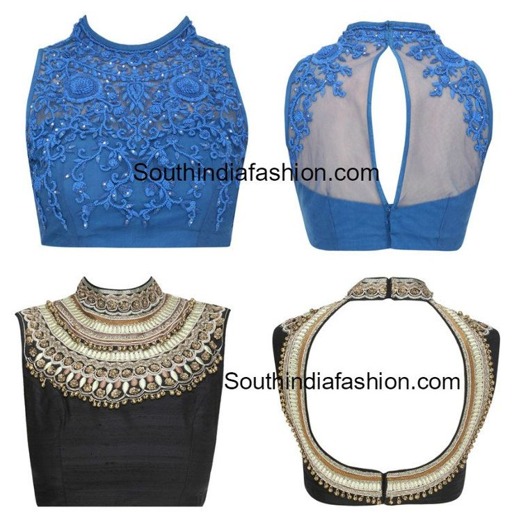 High Neck Thread Work Blouse Designs