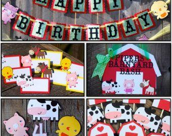 Farm Birthday Banner Barn Birthday van Cutiepiepartyshoptoo op Etsy