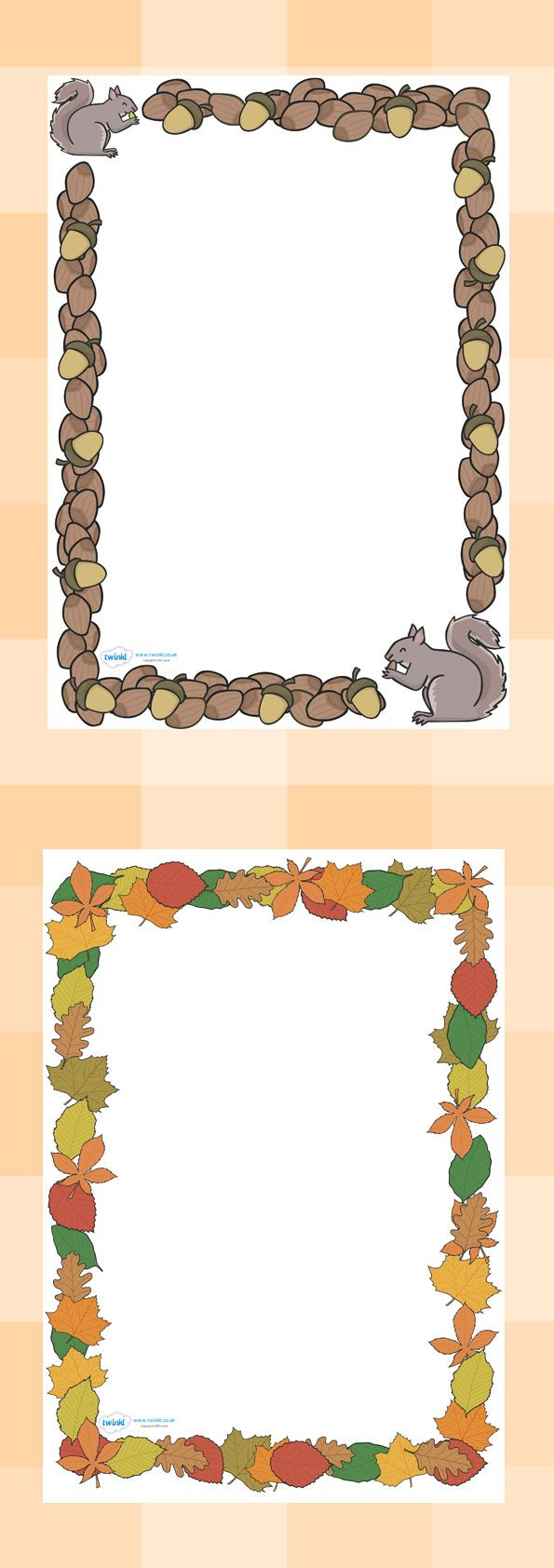 Twinkl Resources >> Fall Page Borders >> Classroom printables for Pre-School, Kindergarten, Elementary School and beyond! Topics, Seasons, Fall, Printable Writing Paper, Borders