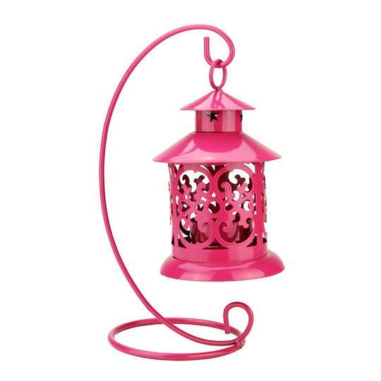 "8.75"" Shiny Pink Candle Holder Mini Lantern with Hanger"