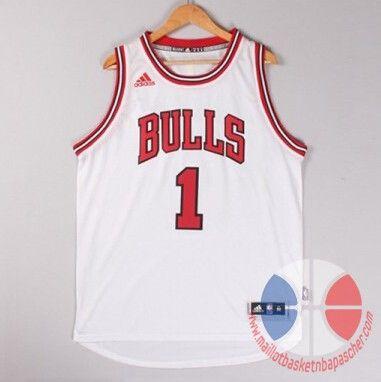 maillot basket nba Chicago Bulls Rose #1 Hot de gaufrage Blanc nouveaux tissu €22.9