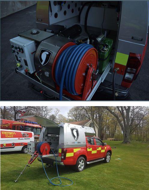 Hasicí systém Cold Cut výsuvná Cobra (skid) umožňuje bezpečný zásah proti požárům a požárním plynům uvnitř místnosti z vnějšku.