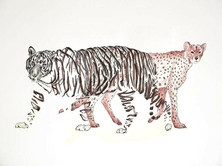 Juame Montserrat - Tigre y guepardo (Panthera tigris con acinonyx jubatus) 65x50cm.- Bolígrafo sobre papel