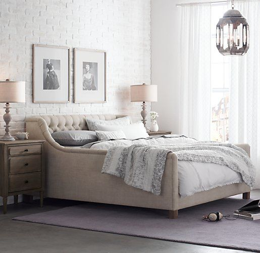 Gorgeous tufted platform-style bed