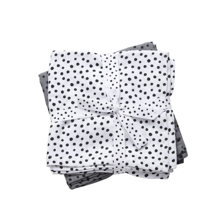 Hydrofiele doek Happy Dots - Grijs (set van 2)