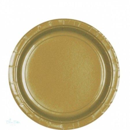 Papír Parti Tányér Arany- 23 cm, 8 Db-os