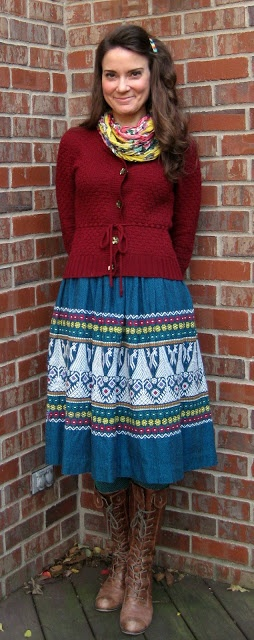 Cassie Stephens: What I Wore this Week #44 - Burgundy knit sweater, patterned skirt, Seychelles boots