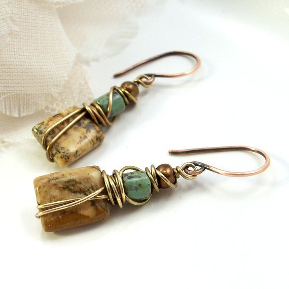 Reserved Wire Wrapped Handmade Jewelry Earrings Boho