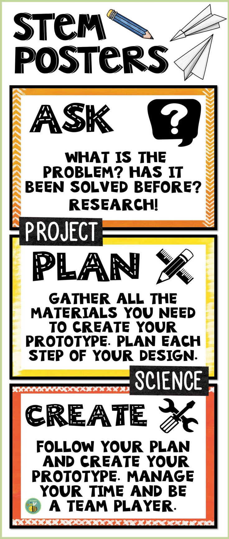 This resource includes 6 posters about the engineering design process + differentiated mini-anchor-charts that will fit in your students' science notebooks. These posters and mini-anchor charts are perfect for grades 3-5.