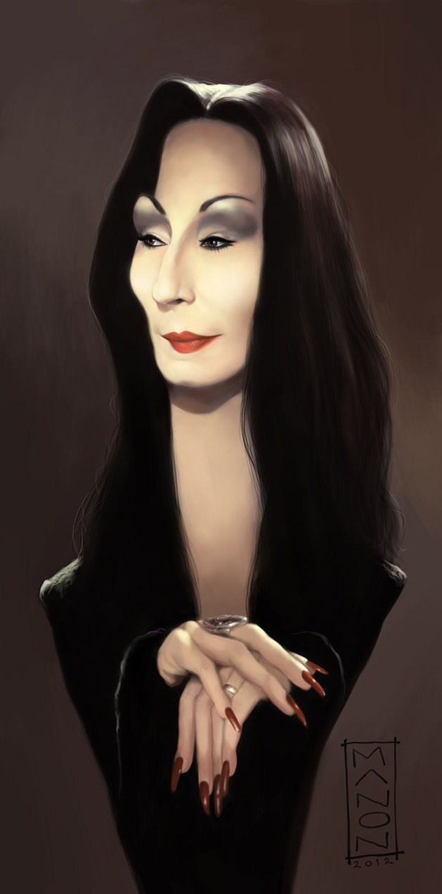 Anjelica Huston - Morticia Addams by ArtByManon