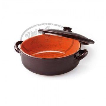 www.viviincampagna.it - #Tegame alto in #terracotta con coperchio marrone