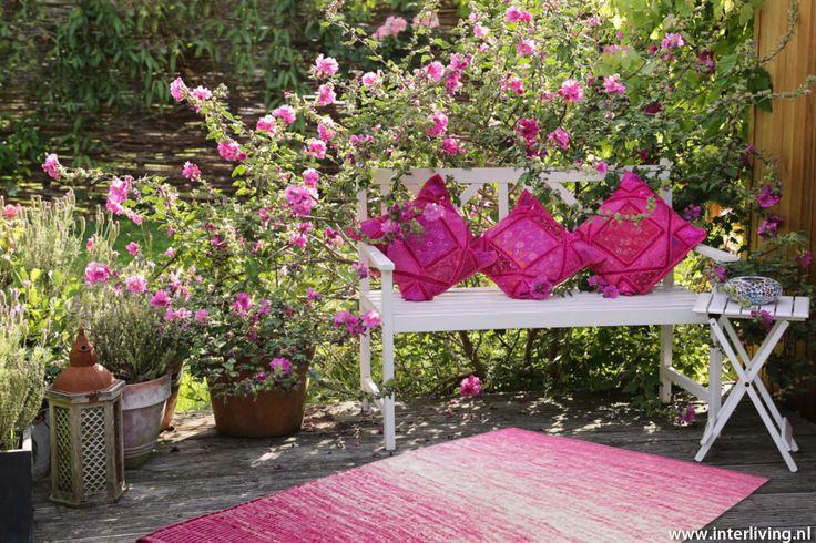 zware kwaliteit binnen & buiten vloerkleed pink blossom - 240 x 150 cm