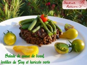 salade de queue de boeuf lentilles du Puy haricots verts