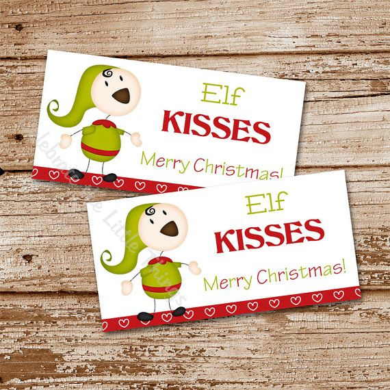 Printable / Christmas Treat Bag Toppers / Elf Kisses (Instant Download ...