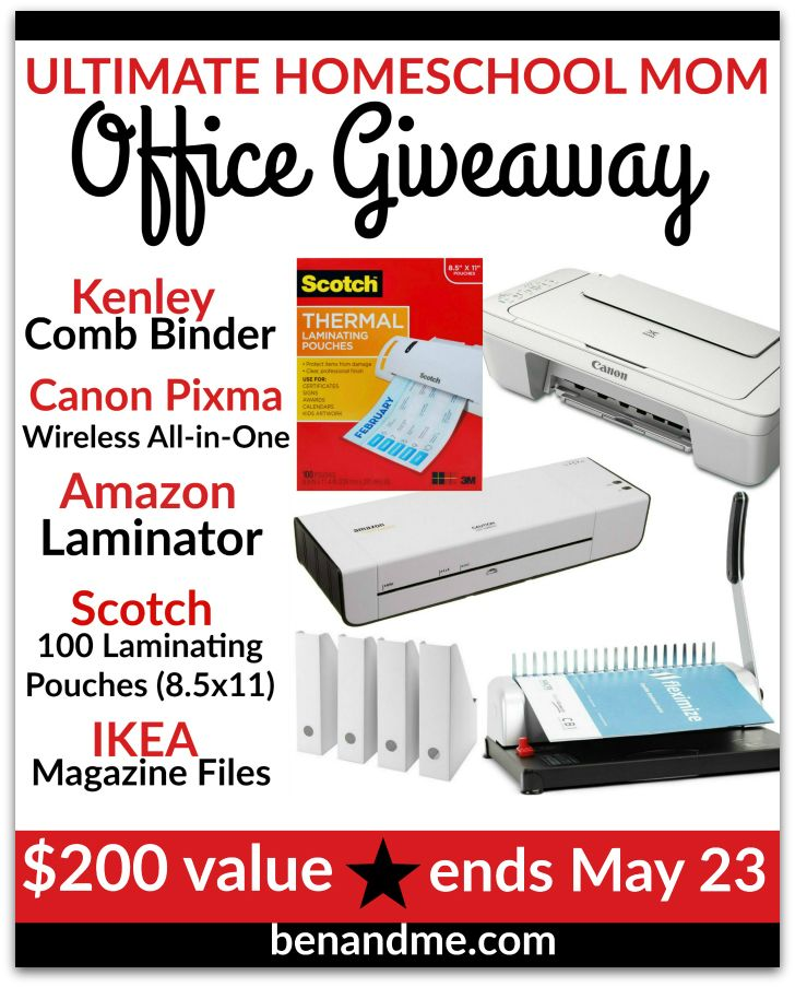 HOMESCHOOL MOM'S OFFICE GIVEAWAY: I am so excited to share this giveaway with y'all today! It is valued at $200 and contains many of the products I use to make my homeschool mom's office convenient and useful. One winner will receive all of the following: Canon Pixma All-in-One Wireless Printer ~ Kenley Comb Binding Machine ~ Amazon Laminator with 100 Laminating Pouches ~ 8 IKEA Magazine Files