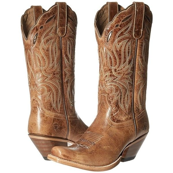 Ariat Bristol (Tan) Cowboy Boots ($176) ❤ liked on Polyvore featuring shoes, boots, mid-calf boots, leather cowgirl boots, tan cowboy boots, square-toe boots, ariat boots and leather boots