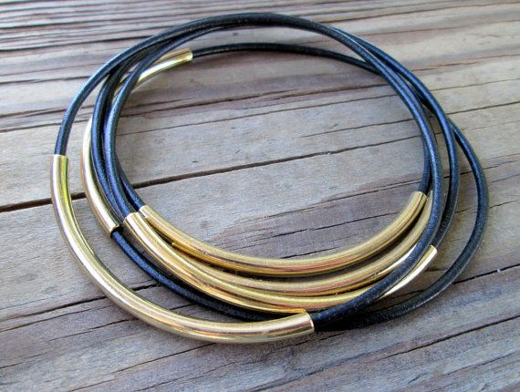 Black+Leather+Bracelets+for+Women+Gold+and+Black+Leather