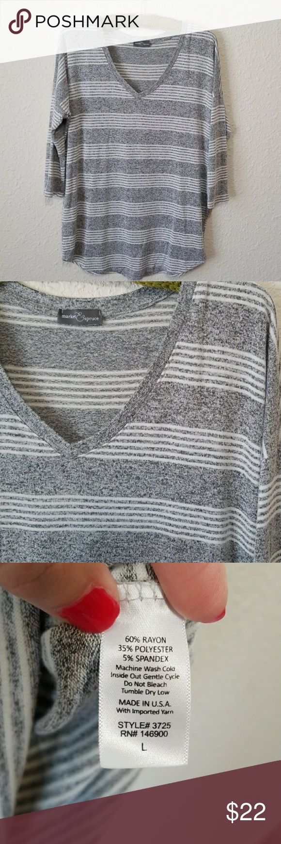 """Stitch Fix Dolman Sleeve Knit Top This top is so soft and comfortable and in excellent used condition. Heathered gray with white stripes, it will go with so much! Skinny jeans and black moto leggings are perfect with it, it is long enough to cover the backside. Measurements approximate. Bust: 24.5"""" Length 27 3/4"""" & slightly shorter in front  Shoulder: free size Market & Spruce Tops"""
