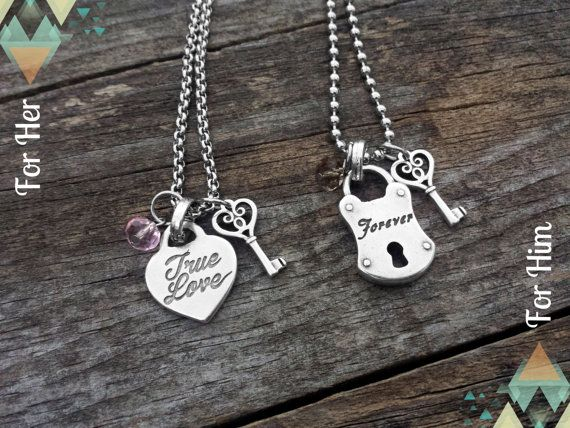 Couples Necklace, Girlfriend Boyfriend Necklace, Wife Husband Necklace, Family Friends Heart Padlock Key, True Love Forever, Stainless Steel