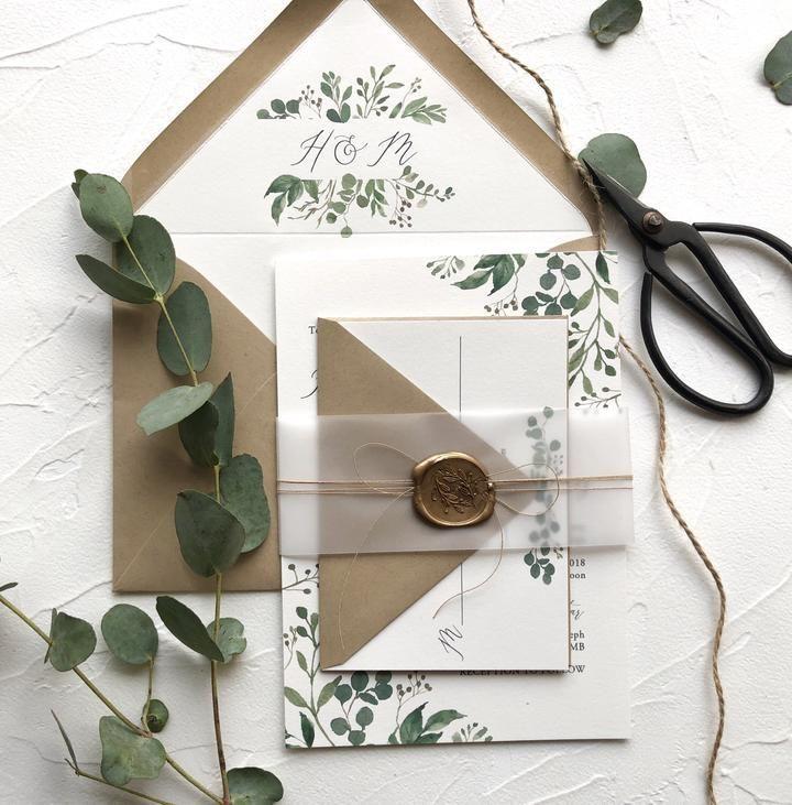 Rustikale grüne Hochzeitseinladung, Wachssiegel, Vellum Wrap