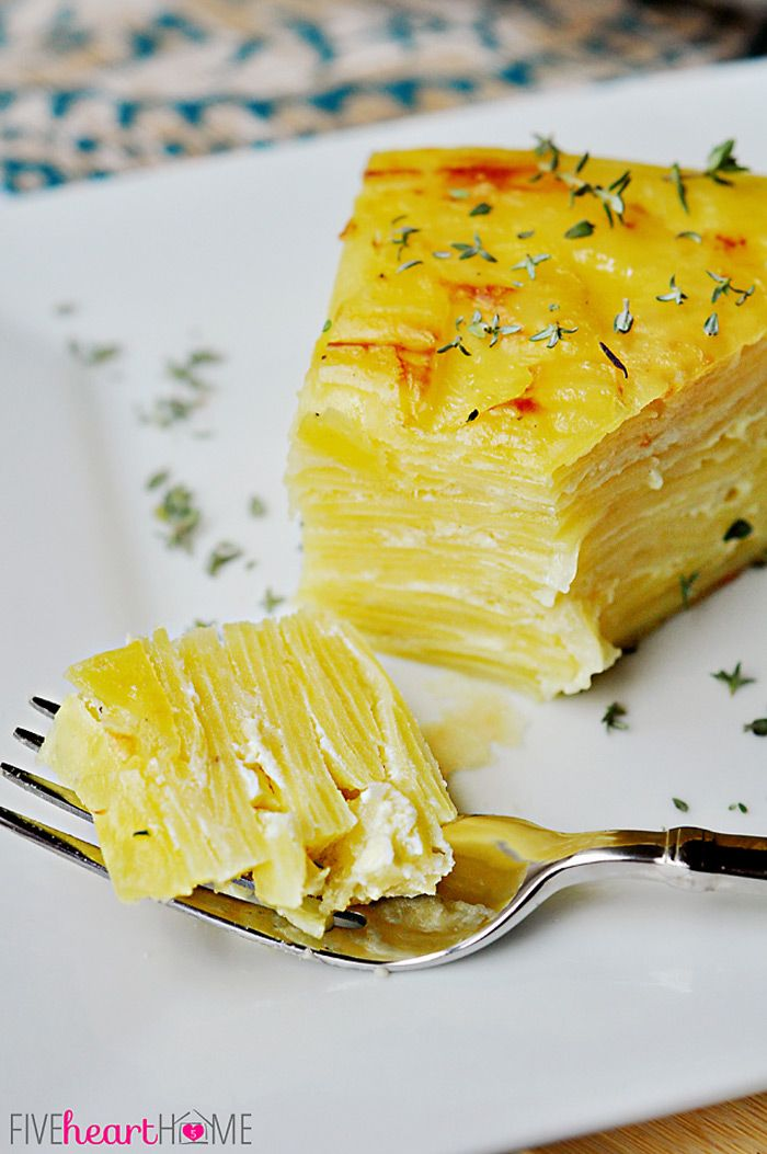Scalloped Potato Flan with Gruyère and Garlic ~ served overturned and sliced for an elegant presentation   {Five Heart Home}
