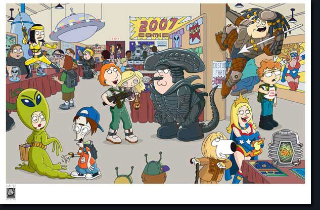 Peter, Louis, Chris, Stewie, Meg, Brian Griffin, Stan, Francine, Hayley, Steve Smith, Roger and Claus