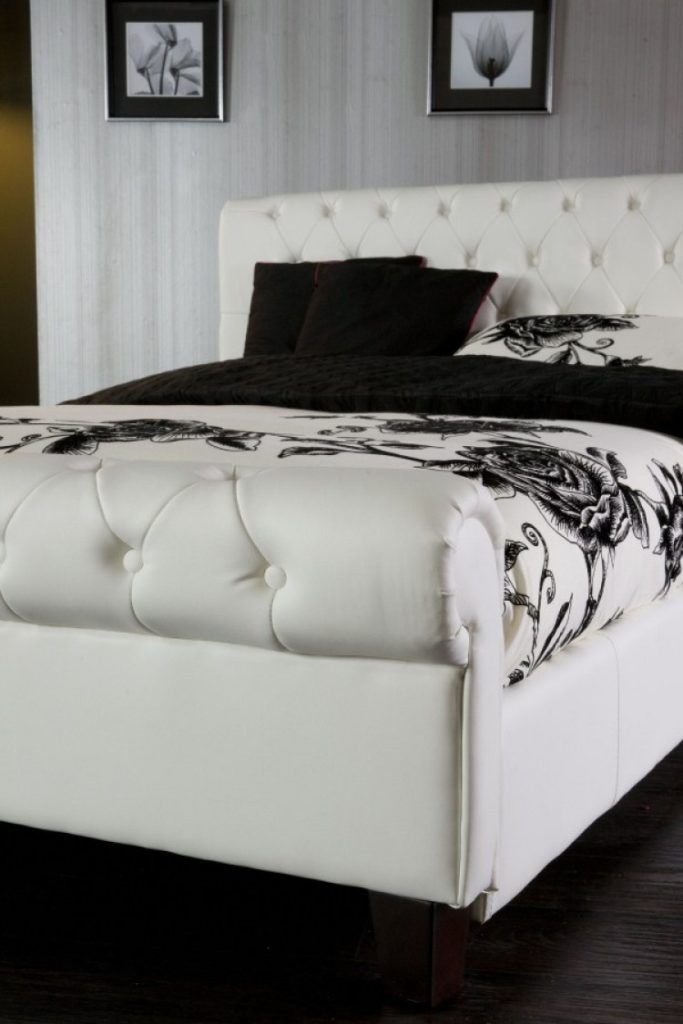 king size white leather bed frames - White Leather Bed Frame