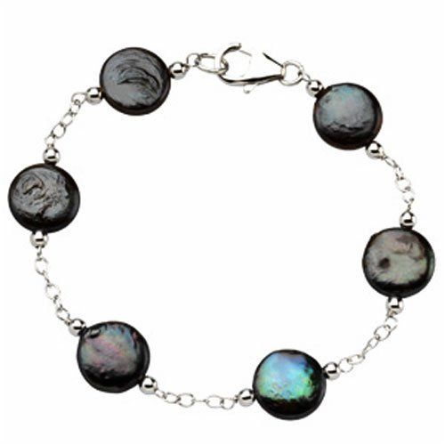 Freshwater Cultured Black Coin Pearl Bracelet Jewelry Days. $29.00. All Pearls are stationed in Genuine Sterling Silver Link Chain.. A unique Coin Shaped Pearls that comes in lustorus black.. Bracelet is 7.5 inches long.. A beautiful Cultured Pearl Station Bracelet.. Save 58%!