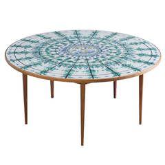 Bjørn Wiinblad Signed Round Tiled Dining Table