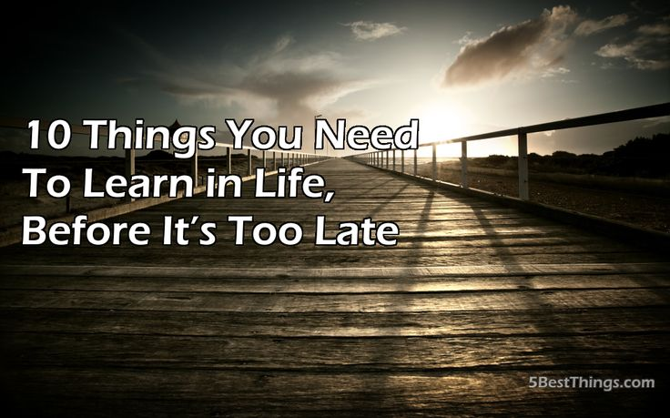 Life is a learning experience and the lesson is never over. We can live long, full lives and still be learning, 10 Things You Need to Learn in Life Before It's Too Late
