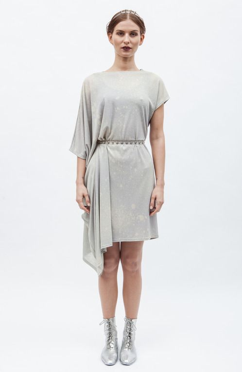 "https://www.cityblis.com/6074/item/6374 | ASYMMETRIC dress - $151 by BLANKBLANK | Free falling fabric, asymmetric design, handmade bleach. Looks at its best with a belt. Weight 250g. Bleaching process creates unique patterns and colour combinations, meaning each garment made is an original, individual design and will vary slightly from the photo.  A piece of collection ""Bl... 