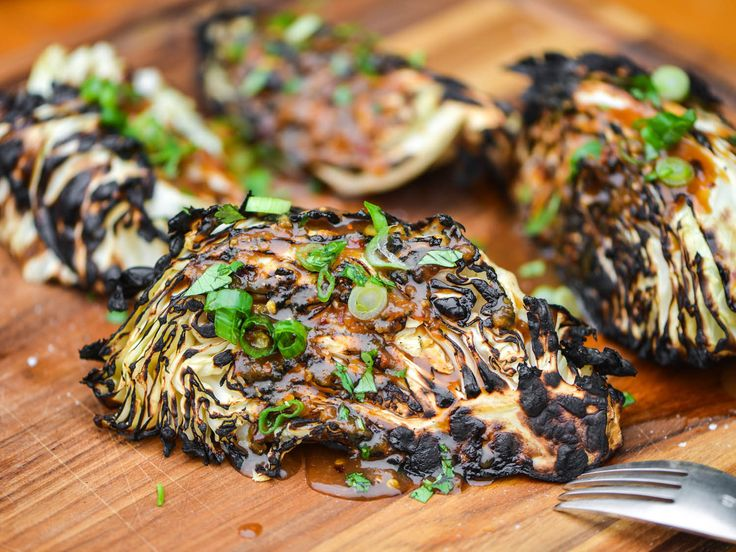Grilled Cabbage Wedges With Ginger-Miso Dressing Recipe