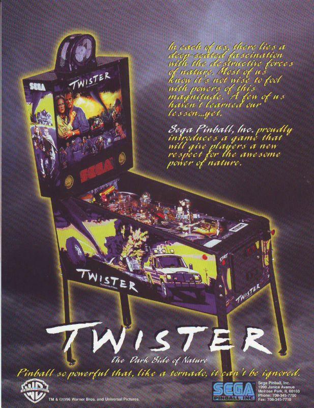 TWISTER By SEGA 1996 ORIGINAL NOS FLIPPER PINBALL MACHINE PROMO SALES FLYER #Twister #Pinball