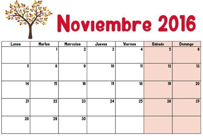 Resultado de imagen para calendario para imprimir noviembre 2016