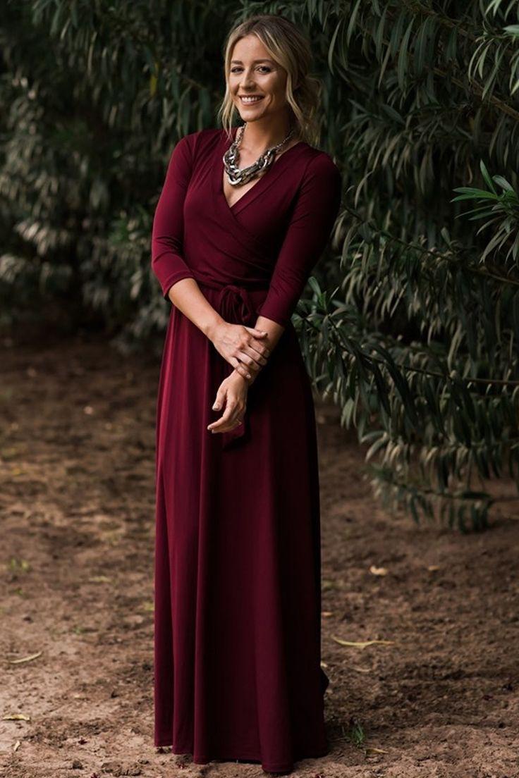 Jonna Burgundy Classic Wrap Maxi Dress - ShopLuckyDuck