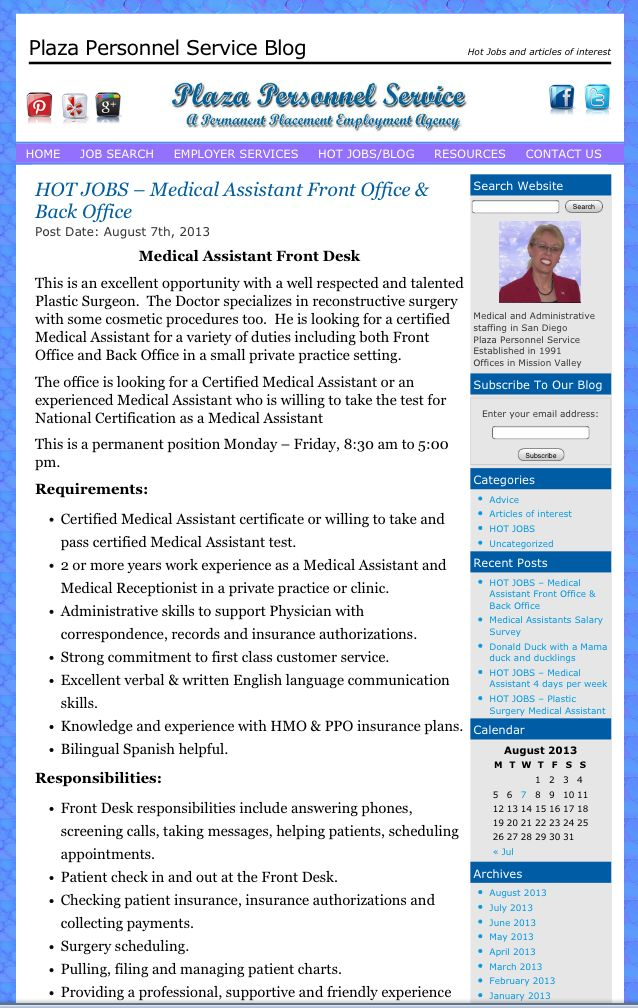 Medical Assistant Job Opportunity In San Diego Ca Plaza Personnel Service Staffing