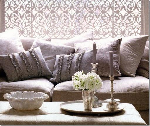 #Gray #ruffled #pillows