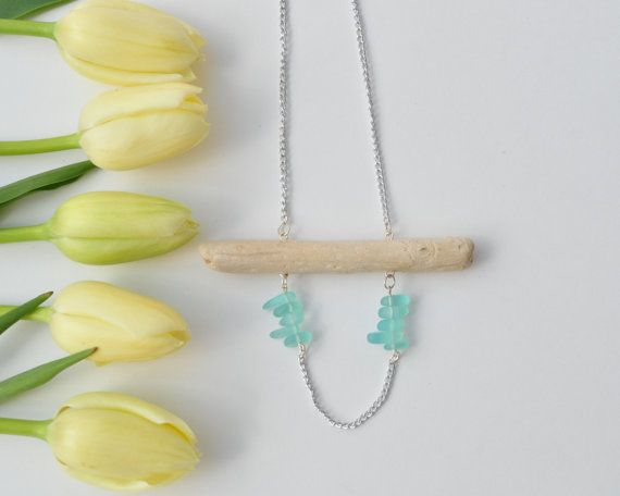 Natural Ocean Driftwood Necklace with Recycled Aquamarine Sea Glass beads,aluminium hypoallergenic,Aquamarine glass necklace.Wood Necklace $26.99 www.etsy.com/shops/TeaAndMaple