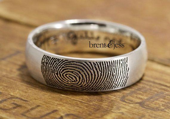 Custom Handcrafted Fingerprint Wedding Band  Low by fabuluster