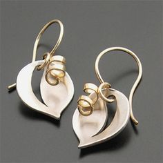 Aileen Lampman leaf and tendril earrings.  Silver/Gold filled USD125
