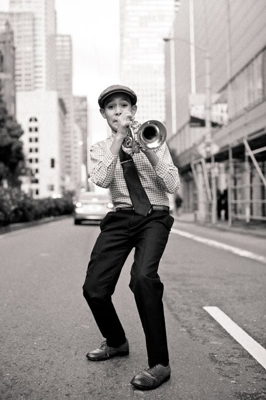 """Gabriel Angelo is a 12 year old trumpet enthusiast who earns the money for his music school by performing on the streets of San Francisco."""