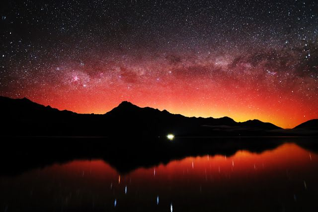 Aurora and the Milky Way Galaxy seen over Queenstown