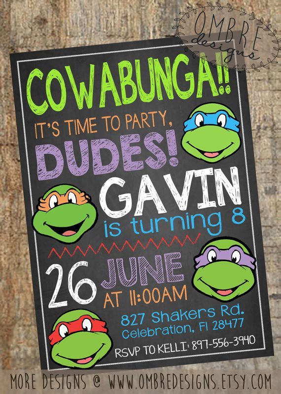 My favorite Ninja Turtle Invitation design!  This Chalkboard TMNT Invite is perfect for any Ninja Turtles Party!