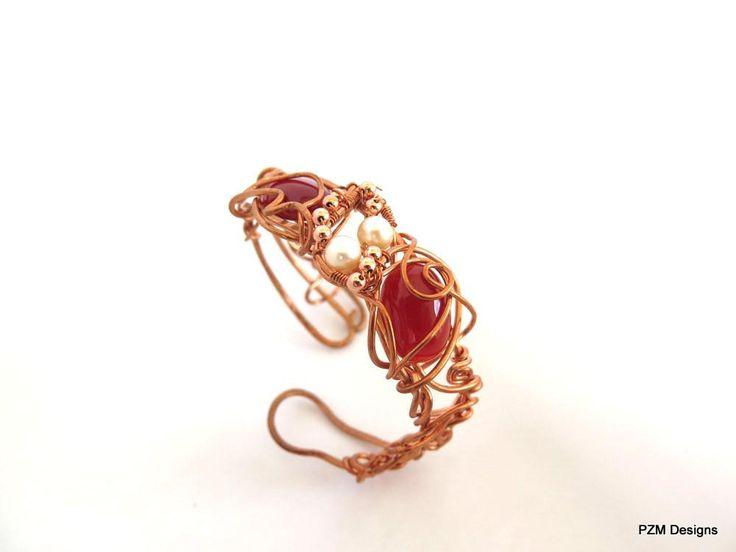 Copper and Gemstone Cuff, Wire Wrapped Boho Chic Cuff Bracelet