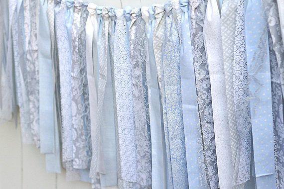 Memorial Day Sale-15% off Rag Tie Garland Lace Blue Grey