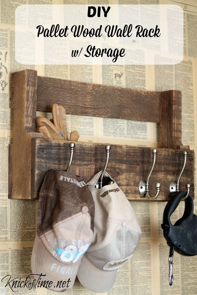 DIY pallet wood rack for hats, coats and storage via Knick of Time. It's cheap and easy with a few basic tools!